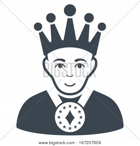 King vector icon. Flat smooth blue symbol. Pictogram is isolated on a white background. Designed for web and software interfaces.