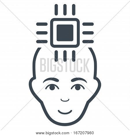 Neural Computer Interface vector icon. Flat smooth blue symbol. Pictogram is isolated on a white background. Designed for web and software interfaces.