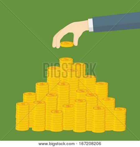 Saving Money Illustration, Hand Putting Dollar Coin To Money Staircase