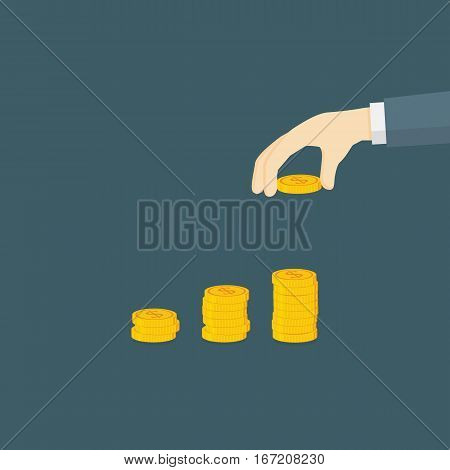 Money Investment Illustration, Hand Putting A Dollar Coin to Money Staircase