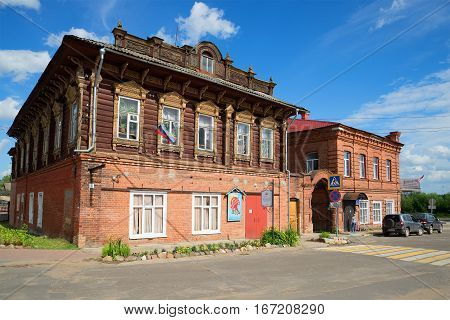 MYSHKIN, RUSSIA - JULY 13, 2016: Building of the ancient merchant estate of Stolbov in the sunny summer day
