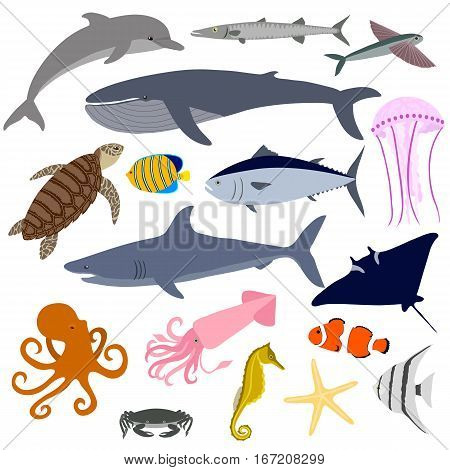 Set of marine life. Fish, whale, octopus, sea turtle, crab, shark, dolphin, seahorse and others. Isolated icons on white background. Vector illustration.