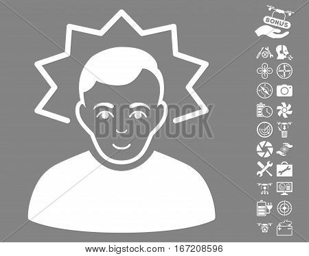Inventor pictograph with bonus flying drone tools clip art. Vector illustration style is flat iconic white symbols on gray background.