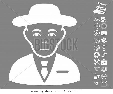Secret Service Agent pictograph with bonus drone tools graphic icons. Vector illustration style is flat iconic white symbols on gray background.