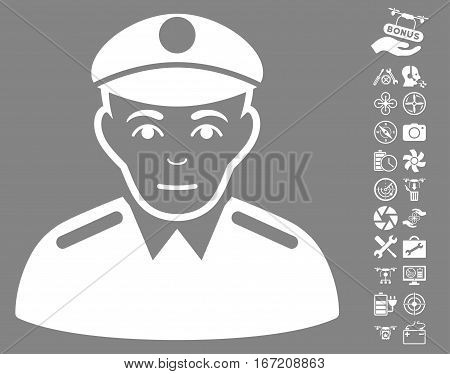 Soldier icon with bonus quadrocopter tools pictograms. Vector illustration style is flat iconic white symbols on gray background.