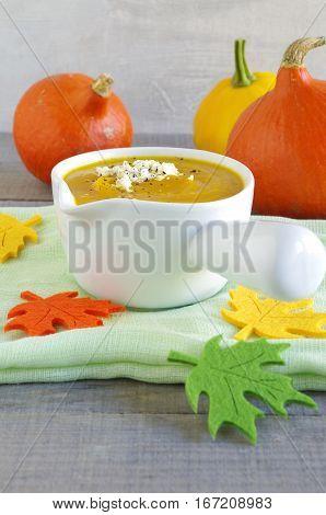 hokkaido pumkin soup with ewe´s cheese and pepper