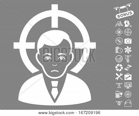 Victim Businessman icon with bonus airdrone service pictures. Vector illustration style is flat iconic white symbols on gray background.