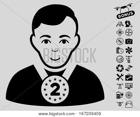 2nd Prizer Sportsman pictograph with bonus quad copter service pictures. Vector illustration style is flat iconic black symbols on light gray background.