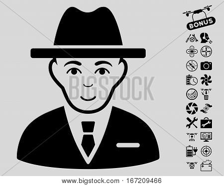 Agent icon with bonus nanocopter tools images. Vector illustration style is flat iconic black symbols on light gray background.