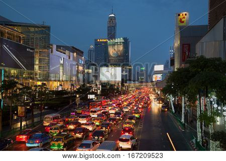 BANGKOK, THAILAND - JANUARY 05, 2017: Evening traffic on the street of Ratchadamri Road