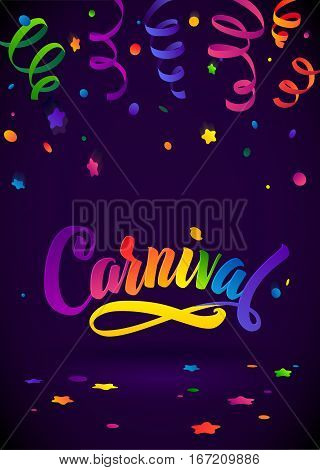 Carnival Calligraphy Inscription Rainbow Colors Poster. Celebration festive Illustration on Mysterious Violet Confetti and Serpentine Background.