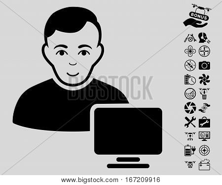Computer Administrator pictograph with bonus uav tools icon set. Vector illustration style is flat iconic black symbols on light gray background.