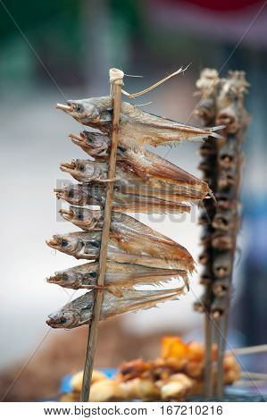 Dried Sheatfishes fish with salty at Thailand market.
