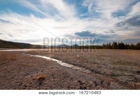 Midway Geyser Basin At Sunset In Yellowstone National Park In Wyoming Usa