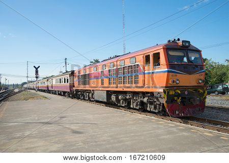AYUTTHAYA, THAILAND - JANUARY 02, 2017: Passenger train at the platform train station. Royal Thai railway