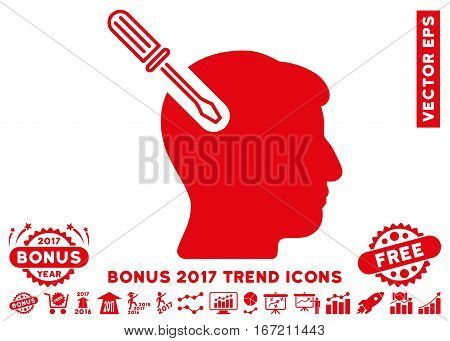 Red Head Surgery Screwdriver pictogram with bonus 2017 trend clip art. Vector illustration style is flat iconic symbols, white background.
