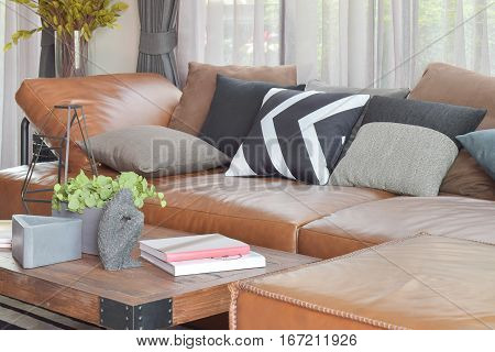 Light Brown Leather L Shape Sofa And Wood Table In Modern Living Room