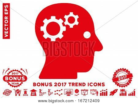 Red Intellect Gears pictogram with bonus 2017 year trend images. Vector illustration style is flat iconic symbols, white background.
