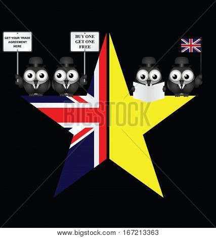 Comical UK and EU split star representing the United Kingdom exit from the European Union resulting from the June 2016 referendum with trade negotiators isolated on black background