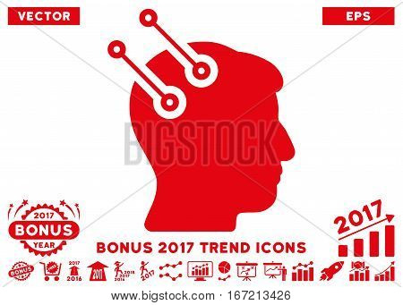 Red Neural Interface Connectors pictograph with bonus 2017 year trend images. Vector illustration style is flat iconic symbols, white background.