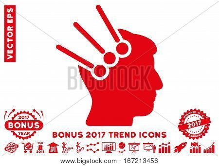 Red Neural Interface Connectors pictogram with bonus 2017 trend pictures. Vector illustration style is flat iconic symbols, white background.