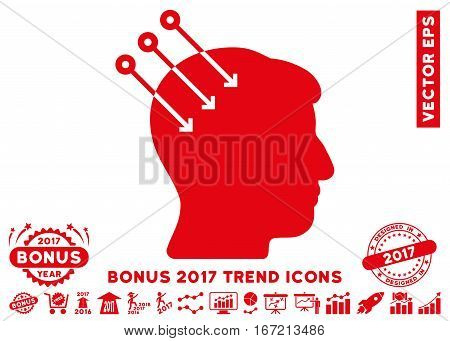 Red Neural Interface Connectors icon with bonus 2017 year trend design elements. Vector illustration style is flat iconic symbols, white background.