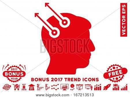 Red Neural Interface Plugs pictograph with bonus 2017 trend images. Vector illustration style is flat iconic symbols, white background.