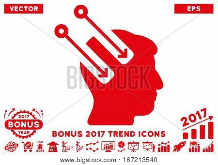 Red Neural Interface icon with bonus 2017 trend icon set. Vector illustration style is flat iconic symbols, white background.