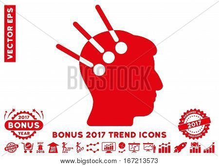 Red Neural Interface pictogram with bonus 2017 trend elements. Vector illustration style is flat iconic symbols, white background.