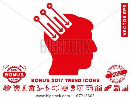Red Neuro Interface icon with bonus 2017 trend elements. Vector illustration style is flat iconic symbols, white background.