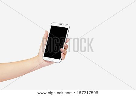 hand hold phone with free space and empty isolated on white background