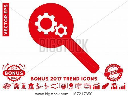 Red Search Gears Tool pictograph with bonus 2017 year trend pictograph collection. Vector illustration style is flat iconic symbols, white background.