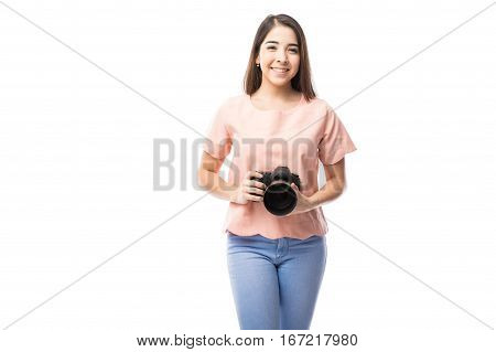 Cute Girl With A Professional Camera