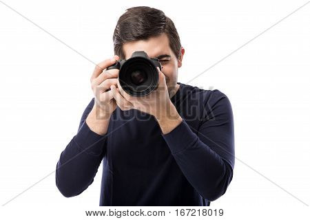 Male Photographer Using A Dslr