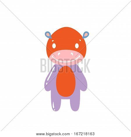 Happy Hippo color on a white background. Vector illustration