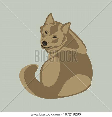 wolf vector illustration style Flat side back