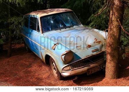 Osaka, Japan - Nov 29, 2016: The Ford Anglia in the Wizarding World of Harry Potter in Universal Studios Japan. Universal Studios Japan is a theme park in Osaka, Japan.Weasley Car Harry Potter
