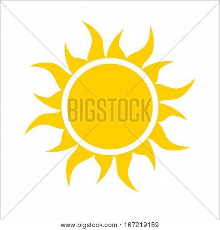 Yellow sun icon isolated on white background. Modern simple flat sunlight, sign. Trendy vector summer symbol for website design, web button, mobile app.