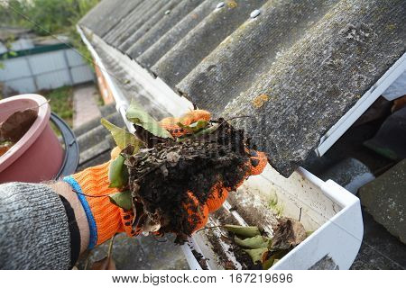 Rain Gutter Cleaning. Scooping leaves from gutter. Clean and Repair Rain Gutters and Downspout with roofer hands. Step by Step. poster