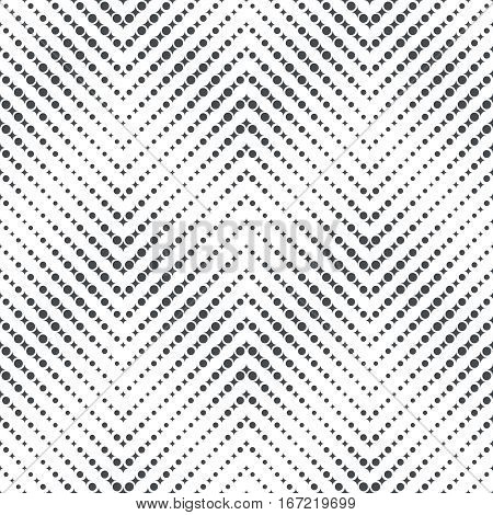 Vector seamless pattern. Modern stylish texture in the form of zigzags waves. Regularly repeating geometric zigzag stripes with dots rhombuses. Vector element of graphical design