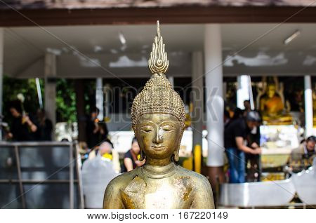 Cluse up Beautiful Face of Budha Statue Thai Style.
