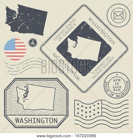 Retro vintage postage stamps set Washington United States theme vector illustration