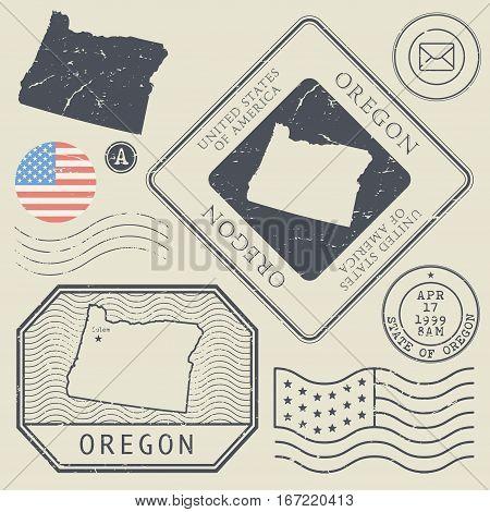 Retro vintage postage stamps set Oregon United States theme vector illustration
