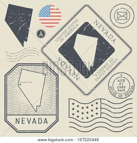Retro vintage postage stamps set Nevada United States theme vector illustration