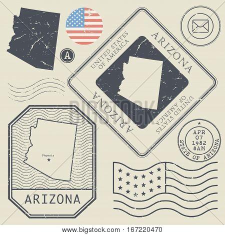 Retro vintage postage stamps set Arizona United States theme vector illustration