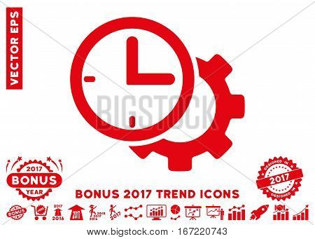 Red Time Setup Gear icon with bonus 2017 trend images. Vector illustration style is flat iconic symbols, white background.