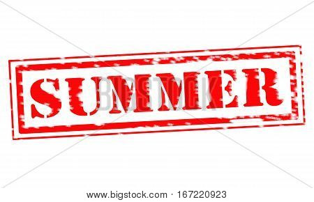 SUMMER Red Stamp Text on white backgroud