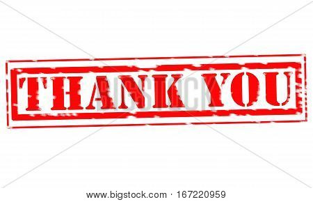 THANK YOU Red Stamp Text on white backgroud