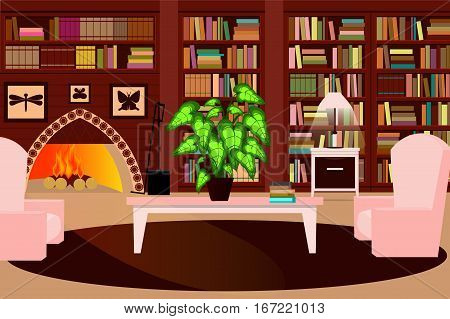 Cozy living room with a fireplace a bookcase and a chair. Vector illustration.