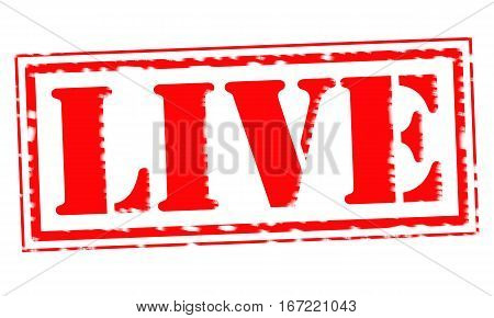 LIVE Red Stamp Text on white backgroud